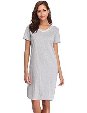 68470397fe [Sponsorizzato]Hawiton Donna Pigiama Vestito Estivo Camicia da Notte in  Cotone Scollo V con