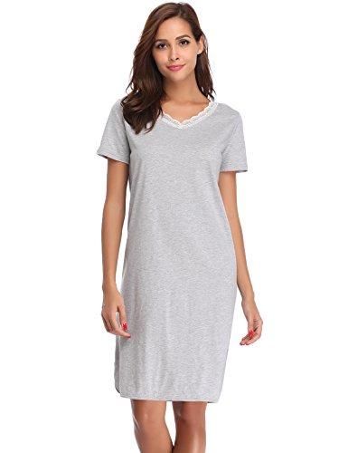 Sleepshirt Aus Reiner Baumwolle (Hawiton Damen Nachthemd Kurz Baumwolle Spitze Nachtwäsche Nachtkleid Negligee Sleepshirt Kurzarm für Sommer (Grau, X-Large))