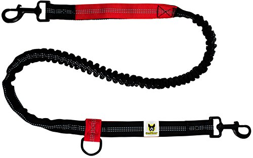 Joggingleine | Premium Hundeleine 120cm Bis 200cm | Elastisch Reflektierend Reißfest Gepolsterter Hüftgurt Hüftbeutel | Freihändig Laufen Spazieren Wandern -