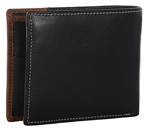 AM Premium Genuine Leather Men's Bi Fold Wallet in Black and Crazy Horse  Leather Wallet