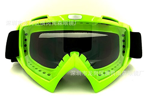 La moto le ski, lunettes de sport+ fort vert transparent