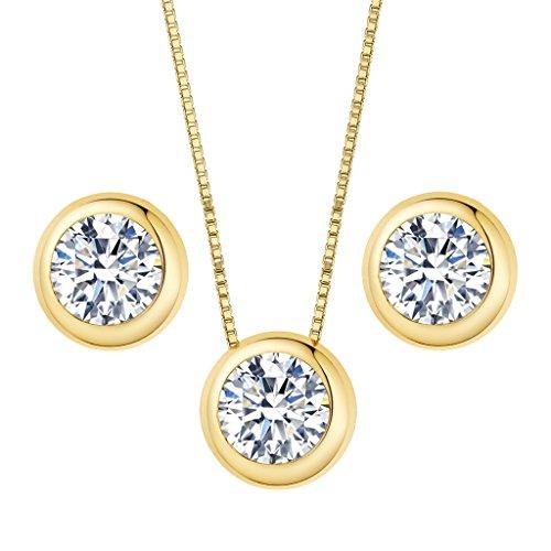Clearine Damen 925 Sterling Silber Elegant Cubic Zirconia Rund Form Einfach Pendant Halskette Pierced Ohrringe Schmuck Set Gold-Ton