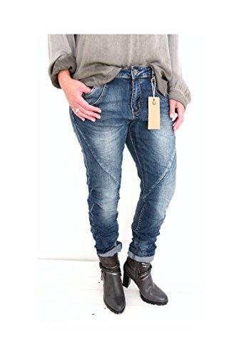 klassische Baggy Boyfriend Chino Jeans Hose usedlook Zipper Ziernähte denim blau blue stonewashed (8319) Vintage casual (L - 40) (Vintage Jeans Klassische)