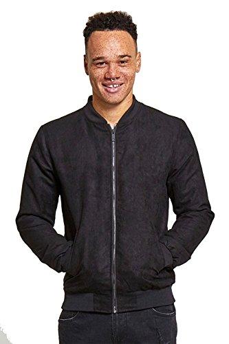 Homme Brave Soul Suede Bomber Vintage Zip Jacket Noir