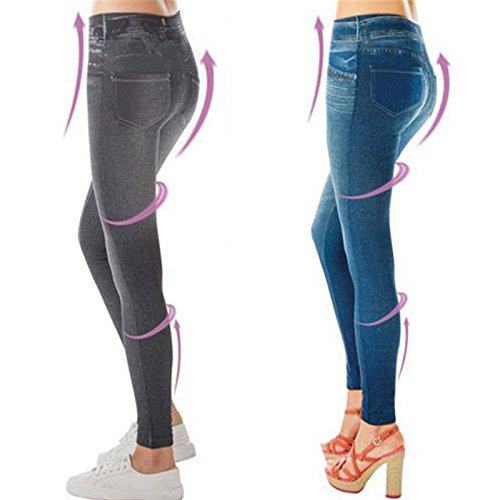 FWQPRA® Sexy Push up Fake Jeans Leggins for Women Denim Pencil Pants Slim Fitness Jeggings Leggings Size(L/XL)