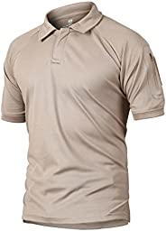 CRYSULLY Men's Military Short Sleeve Shirt Cargo Tactical Pullover Outdoor T-Shirt Army Combat Polo Sh