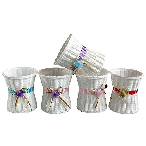 conjugal Bliss 1Künstliche Blumen Blume Korb der Kunststoff Roses Lavendel Nelke flowerpate Art Garden Deko-Nachahmung Porzellan Vase (nicht enthalten Bouquet), gold, 5.5IN (Top T-shirt Garden Tea)