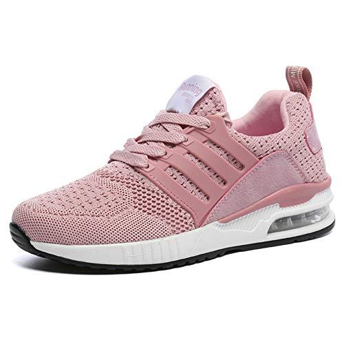 Uomo Donna Scarpe per Correre Running Sportive Ginnastica Sneakers Fitness Training Trekking Scarpe da Casual all'Aperto Respirabile Mesh Basse Scarpe Antiurto Pink 39 EU