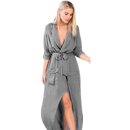 DOLDOA Frauen Maxi Long Shirt Kleid Abend Party Wrap Tunika Kleid (EU: 48 Fehlschlag: 108cm / 42.5