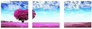 Wowdecor kit dipingere con i numeri per adulti bambini Junior principianti per anziani, pittura numerata, set di 3pezzi, colore: Azzurro cielo viola Love Tree 16x 20x P cm Framed