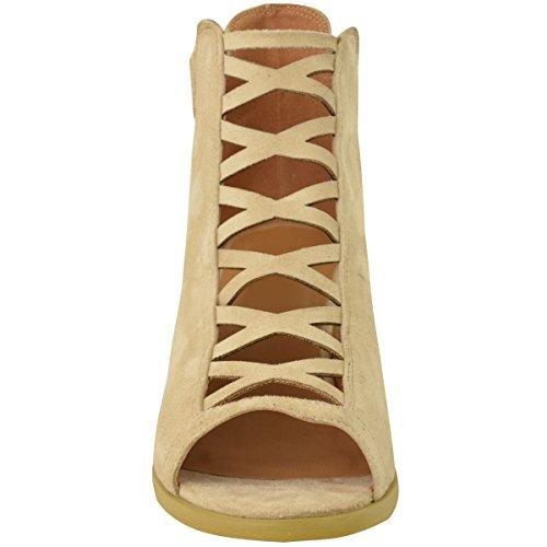 DONNA ZEPPA TACCO BASSO Sandali con lacci cut out scarpe cinturino alla caviglia taglia Pelle Camoscio Sintetico
