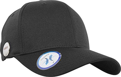 Flexfit Golfer Magnetic Button Cap mit magnetischem Golfball Markierer an der Kappe, Bequeme und Praktische Golf Cap - Farbe Black, Größe L/XL