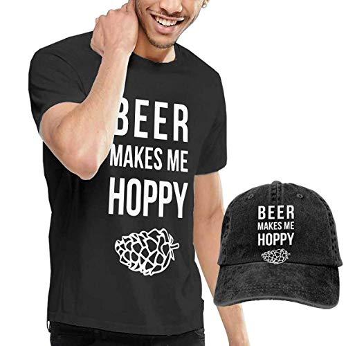 Baostic Herren Kurzarmshirt Beer Makes Me Hoppy Men's Classic Short Sleeve Crew Neck T-Shirt + HAT Combo (Beer Growler 64)