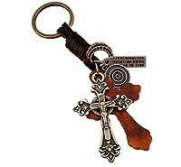 Pelle Portachiavi Portachiavi Croce in stile retrò è un migliore regalo per te, la tua famiglia, gli amici.Che è una bella decorazione per le vostre chiavi.