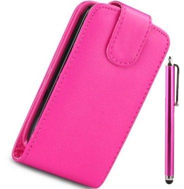 MOD SAMSUNG GT-S7500 GALAXY ACE PLUS, cover a portafogli in similpelle, rosa, con 2 protezioni per schermo e pennino