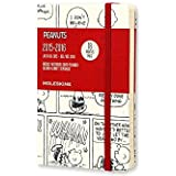 Moleskine Peanuts - Agenda 18 meses, 2015-2016, semanal, tamaño bolsillo, color negro serigrafiado sobre blanco