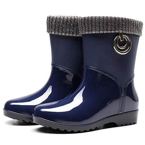 Cardith Gummistiefel Regenstiefel Kurzschaft Stiefel Blockabsatz Chelsea Boots Rain Schuhe