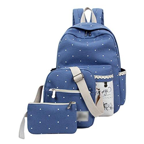 Sentao Vintage 3pcs Zaino Tela Università Donna Zaini Scuola Superiore Zainetti Zainetto Borsa A Tracolla Borsetta Messenger Bag Portafoglio Blu