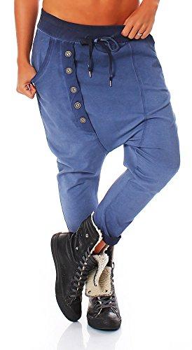 malito Pantaloni con Pulsanti Boyfriend Twist Aladin Sbuffo Pantaloni Pump Baggy Yoga avvolgere 91097 Donna Taglia Unica blu