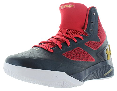 Under Armour ClutchFit Drive II Basketball-Schuhe für Herren , Blau - Midnight Navy/Red/Metallic Gold - Größe: 41 F - Armour Tops Schuhe High Under