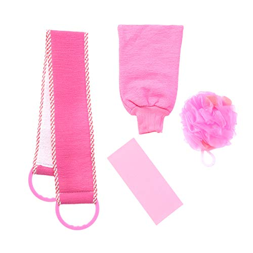 Frcolor 4pcs gant de douche exfoliant lavage poubelle bain boule de douche boule pour les femmes (rose)