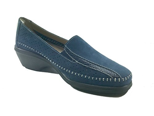 Chaussures Femme Casual Mocassin Caoutchouc Fond Confortable Coin 243 Bleu