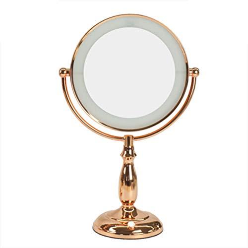 Make-up Spiegel Desktop LED-Licht doppelseitiges Licht Leselicht Nachtlicht große Kosmetikspiegel Vergrößerung 3X / 5X / 10X Mal wiederaufladbare Fülllicht mit Spiegel-A1-5X