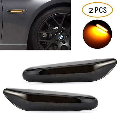 Preisvergleich Produktbild 2 stücke Led Seitenmarkierungsleuchten, UMIWE Rauch Objektiv Bernstein LED Seitenlicht Marker Led Umrissleuchte Anzeigelampe für 1er,  2er,  3er,  X1,  X3 X5 (E36 E46 E53 E60 E61 E81 E82 E83 E84 .)