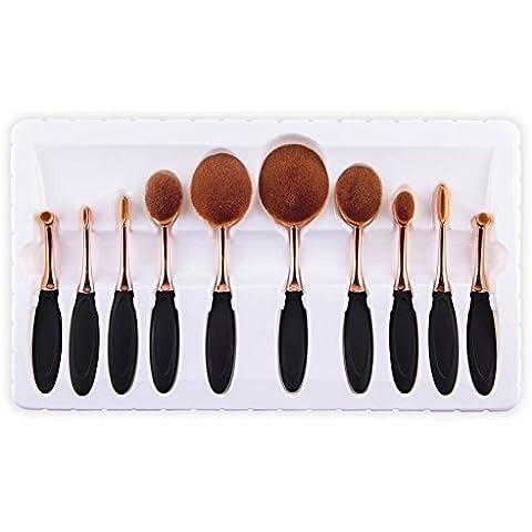 WIMKEN Pro 10 pc / set di pennelli di trucco spazzolino estetica Kabuki Powder Foundation spazzole di spazzola di trucco (oro nero)