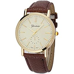 Mallom® Unisex Watches Leather Band Analog Quartz Vogue WristWatch Brown