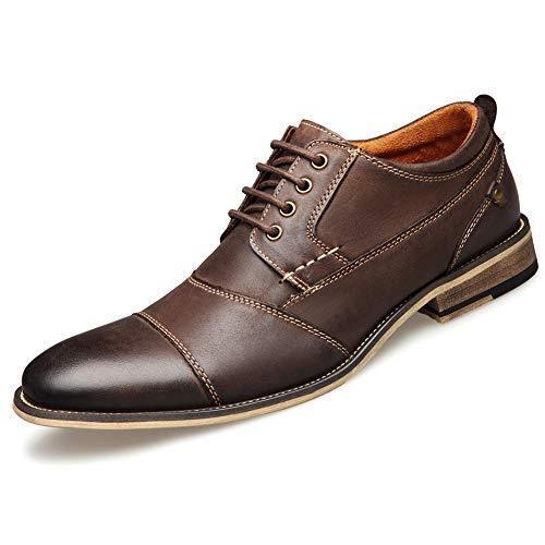 Mens Leder Cap Toe Lace up Oxford Dress Shoes Classic Modern Business Casual Shoes for Men,A,US10.5=EU44 Cap Toe Lace Up Cap