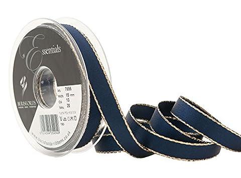 Berisfords 15 mm Polyester Yarn Gold Edge Satin Ribbon, Navy