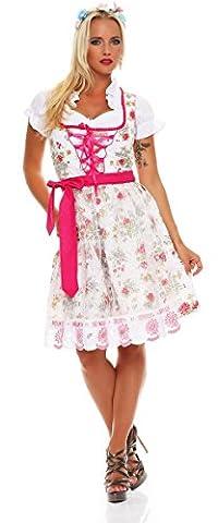 10588 Fashion4Young Dirndl 3 tlg.Trachtenkleid Kleid Mini Bluse Schürze Trachten Oktoberfest (34, Weiß