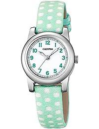 Calypso Kinderarmbanduhr Quarzuhr Analoguhr Leder/Textil-Band K5713, Farben:grün