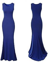 QHGstore Las mujeres elegantes vestidos de noche largos sin mangas vestido de fiesta de boda vestido formal Blau XL