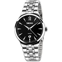 Mens Analog Quartz Waterproof Business Casual Wrist Watch Stainless Steel Band Numeral Roman Time Mark with Key Scrath Resitant Face, 98FT 3ATM Water Resistant Lug Design,Classic Calendar Date Window