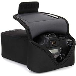 USA Gear Large Etui Appareil Photo Numérique pour Objectif à Zoom en Néoprène Rembourré, Protection Robuste avec Poche et Ceinture - Compatible avec Appareils Canon, Nikon, Pentax, Lumix, etc. - Noir