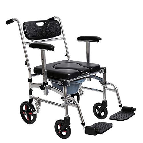 WDDMFR Älterer Toilettenstuhl, Multifunktions-Toilettenrollstuhl, Duschhocker, für Schwangere mit Behinderung