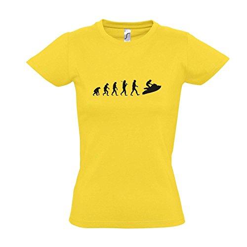 Damen T-Shirt - EVOLUTION - Jetski Sport FUN KULT SHIRT S-XXL Gold - schwarz