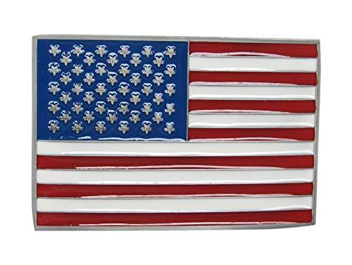 Gürtelschnalle , locken Platte Gürtel Muster Flagge Amerikanische USA Stahl emailliert -