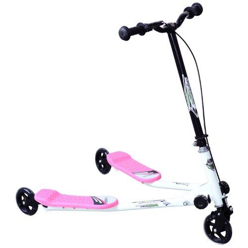 Homcom Children Kids 3 Wheels Foldable Push Speeder Scooter Tri Slider Pink