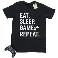 Men's Eat. Sleep. Game. Repeat.100% Organic Soft Crew Neck Cotton Gamer T-Shirt (+19 Shirt Colours) (Small-2XL)