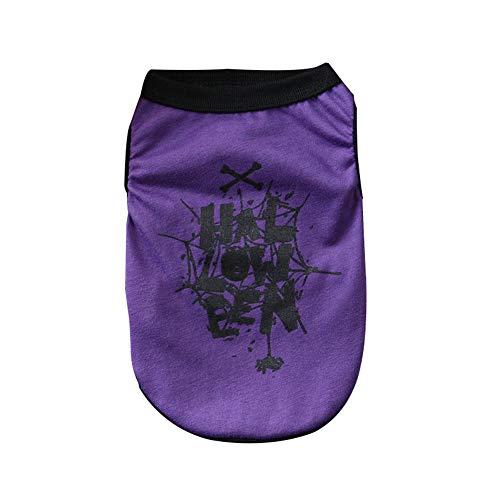 Cutogain Haustier-Weste, ärmellos, Halloween-Kostüm, Geister-Spinnen-Muster, violett, S