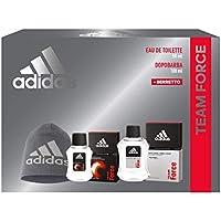 Adidas, Confezione Regalo Uomo Team Force, Eau de Toilette 50 ml, Dopobarba 100 ml, Berretto di Lana