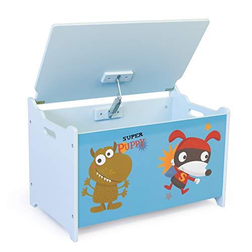 Homestyle4u 1Mesa y 2sillas Juego de Muebles de taburetes con diseño de Cachorro Azul, Madera, 30x 30x 30cm