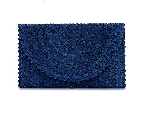 Gewebte Clutch-handtasche (Perfect Runway Damen Handtasche Balinese gewebt Strohhalm Clutch, Blau (blau), Medium)