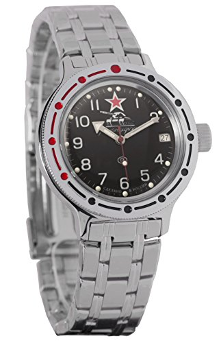 Wostok Amphibian 420306Militäruhr / Taucher-Uhr russisch Schwarz