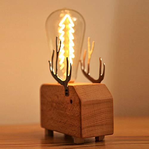 Lámpara de escritorio escandinava con elefante de madera, LED, regulable, diseño de...