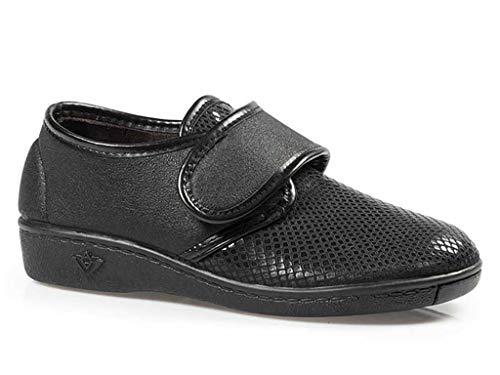 Zapatillas Mujer Linea Confort Marca CALZAMEDI, Horma Ancho 13, Altura 2cm, Piel Color Negro, Pala elástica, Plantilla Extraible, Cierre Velcro y Piso Antideslizante - 3034-99 (39 EU, Negro)