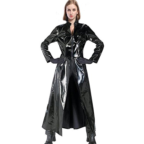 splay Kostüm Outfit Damen PVC Leder Trenchcoat Erwachsene Fancy Dress Kleidung Lang Jacke Merchandise (Matrix Trinity Kostüm)
